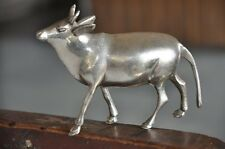 Old Brass Nickel Plated Fine Handcrafted Cow Figurine , Rich Patina