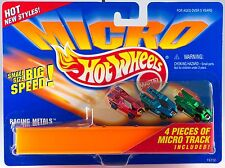 Hot Wheels Micro Racing Metals Chrome 3 Pack With 4 Micro Track Pieces New 1995