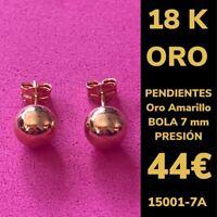 18K Pendientes Bola 7 mm Oro Amarillo 18 Kilates