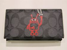New tag Men Coach Keith Haring Black Charcoal Signature Phone Case Wallet F12005