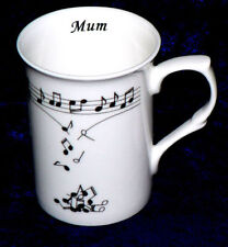 Music notes falling from scale design on Personalised Bone china mug,