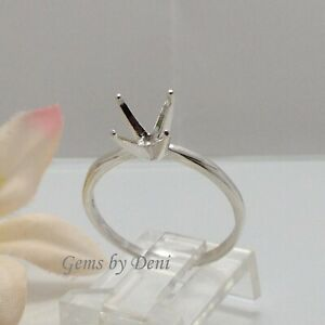4, 5, 6, 7 or 8mm Round 4-Prong Deep Vee Sterling Silver Ring Setting (Size 4-8)