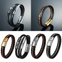Men's Simple Jewelry Bracelet Concise Braided Leather Bangle Black/Brown Color