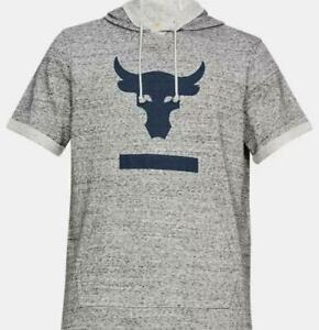 Men's Under Armour Project Rock Terry Short Sleeve Hoodie Size Large #1345818