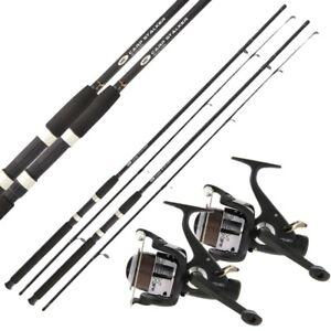 2 x CARP STALKER FISHING RODS 8ft, 2pc Stalking Rod + 2 Carp Runner Reels NGT