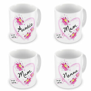 Auntie, Gran, Grandma, Grandmother, Granny... Heart With Tag Novelty Gift Mugs