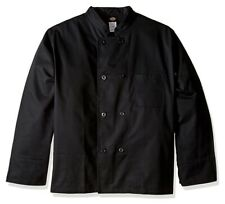 New Dickies Unisex M Classic Cloth Covered Button Culinary Chef Coat Black Dc45
