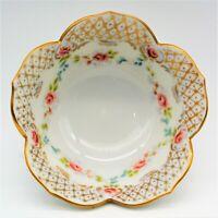"Stengard Porcelain Flower Shaped 6"" Bowl Hand Painted Gold Trim"