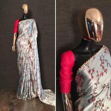 White Satin Saree Floral Print Sari Blouse Pearl Lace Border Designer Women Wear