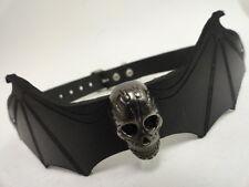 Leather Choker Bat Wings & skull Punk Gothic Cyber Biker Industrial cosplay emo