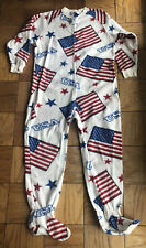 Usa American Flag Fourth Of July Adult Footed Fleece One Piece Pajama Size Small