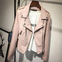 Women Vintage Punk Biker Motorcycle Lapel Soft Leather Zipper Slim Jacket Coat