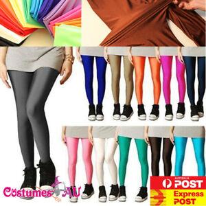 80s Shiny Neon Leggings Costume 80's Stretch Fluro Pants Gym Yoga Dance Party