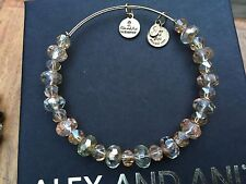 RARE ALEX and ANI VINTAGE COPPER TINSEL SWAROVSKI CRYSTAL Beaded BANGLE Bracelet