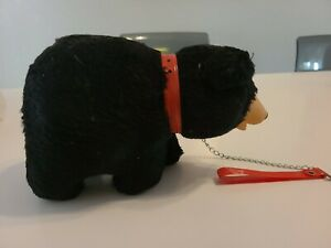 ANTIQUE STRAW FILLED MOHAIR BEAR RUBBER NOSE