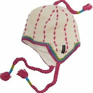 NWT Everest Designs Hand Made in Nepal Cream and Pink Wool Ear Flap Beanie