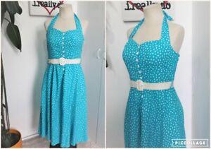 Vintage Early 80s Turquoise Blue Dalmation Print Halter neck Swing Sun Dress Siz