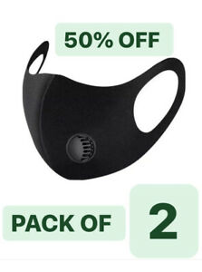 Pack Of 2 Face Mask With Filter Air Valve Washable Reusable  Breathable Black