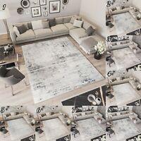 Kurzflor Teppich Modern Creme Grau Streifen Designer Wohnzimmer Meliert NEUHEIT