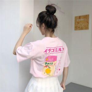 Fashion Women Tshirt Harajuku Kawaii Strawberry Milk Printed Tee Casual Pink