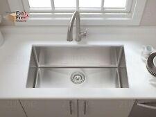 """Luxury 30"""" Kitchen Sink Undermount Single Bowl, 16 Gauge Stainless Steel, Modern"""