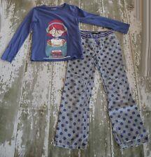MINI BODEN Blue Book Graphic Shirt Gray Polka Dot Corduroy Heart Knee Pants Set