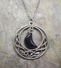 Antique Silver Pl Celtic Pendant Blue Goldstone Moon Necklace Ladies GIft Reiki