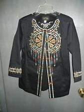 WOMENS BOB MACKIE WEARABLE ART BLACK JACKET FRONT EMBROIDERED INDIAN / AZTEC