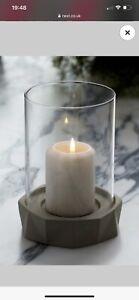 Next Home Facet Hurricane Modern Glass Tall Candle Home Set