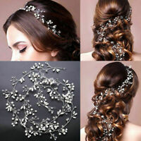 Bridal Hair Headband Vine Wedding Crystal Pearl Long Chain Headpiece Accessories