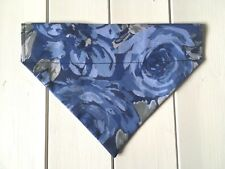 Handmade Blue Floral Over Collar Dog Bandana - various sizes available