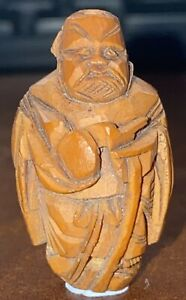 Antique Chinese Carved Hediao Nut Ojime Bead Wonderful Carved Lohan Or Monk