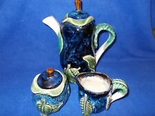 Majolica-style teapot/coffee pot, creamer, covered sugar