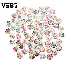 x50 Vintage Wooden BUTTONS - Shabby Chic White Flower -Mixed colours 15 mm