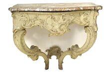 Console Louis XV bois sculpté laqué marbre brèche coquilles XVIIIème siècle