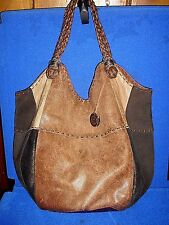 The Sak Indio Teak Leather & Suede Copper Metallic Whipstitched Tote Shopper Bag