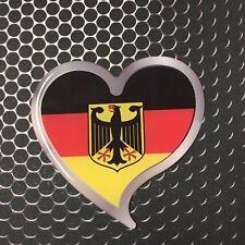 "Germany Flag Heart Sticker Domed Decal Emblem Car Sticker 3D 3"" LOVE Deutschland"