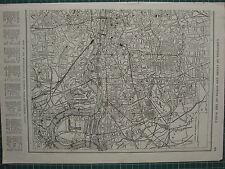 1926 MAP ~ LONDON CITY PLAN EASTERN SECTION RIVER THAMES RAILWAYS STREETS DOCKS
