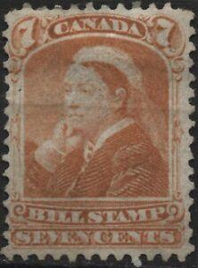 Canada VanDam #FB44 7 orange bill stamps of 1868, perf 12