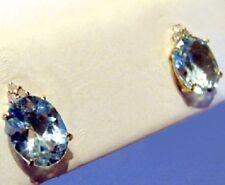 5 CTS GENUINE TOPAZ DIAMOND OVAL EARRINGS 10KT YG NEW!