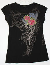 R 23 F&L Women's Black XS Embellished Tee 100% Cotton Cap Sleeve Roses