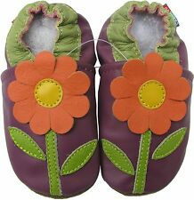 carozoo daisy purple 3-4t new soft sole leather baby shoes