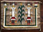 Navajo Rug Wall Hanging Vtg Wool Art Yei Weaving Corn People Southwest USA