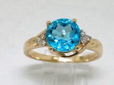 Blautopas Ring 585 14Kt Gelbgold 1 natürlicher beh. Blautopas   6 Brillanten