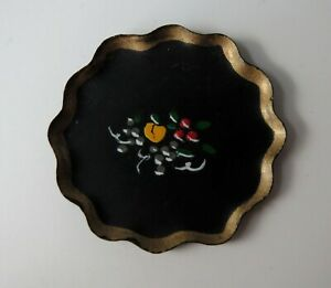 Vintage Dollhouse Miniature Tray Hand Painted Round Metal Artisan 1970s Signed
