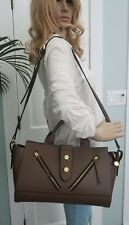 Alberta Di Canio made in Italy taupe brown leather tote crossbody bag
