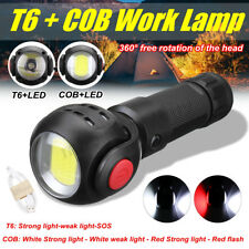 Rechargeable T6+COB LED Work Light Magnetic Torch Flashlight USB 18650 Lamp 360°