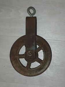 """Antique Cast Iron Metal Wheel 10.5"""" Pulley"""
