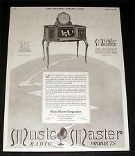 1925 OLD MAGAZINE PRINT AD, MUSIC MASTER RADIO PRODUCTS, TEN MODELS $50 TO $460!