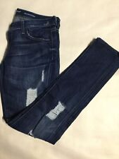 7 For All Mankind Roxanne Size 30 Blue Distressed Skinny Straight Leg Jeans. X24